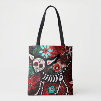 kitty sugar skull all over print tote