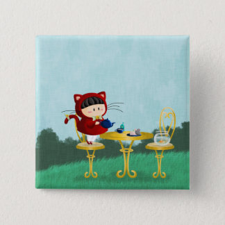 Kitty Tea Party 2 Inch Square Button