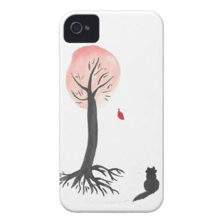 Kitty Watches the Falling Leaf iPhone 4 Covers