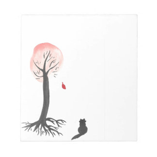 Kitty Watches the Falling Leaf Notepad