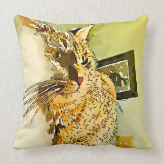 Kitty Whiskers Heart Nose Watercolor Throw Pillow