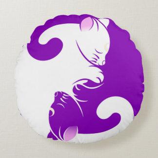 Kitty Yin Yang Round Pillow
