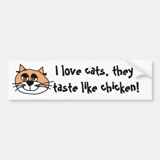 kittykat, I love cats, they taste like chicken! Bumper Stickers