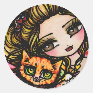 """Kitty's Kard"" Heart Cat Valentine Stickers"