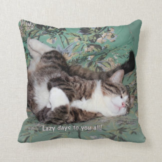 Kitty's Lazy Days Throw Pillow