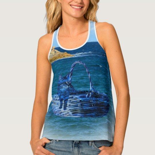 Kitty's Sea Adventure, Ladies Racerback TankTop Tank Top