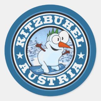 Kitzbühel Snowman Circle Classic Round Sticker