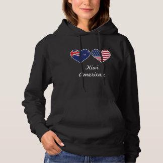 Kiwi American Flag Hearts Hoodie