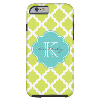 Kiwi and Light Aqua Moroccan Quatrefoil Print Tough iPhone 6 Case