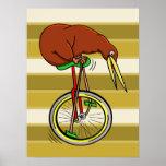 Kiwi Bird On A Unicycle Funny Cartoon Poster