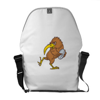 Kiwi Bird Running Rugby Ball Drawing Messenger Bag