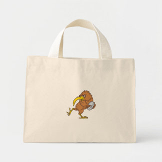 Kiwi Bird Running Rugby Ball Drawing Mini Tote Bag