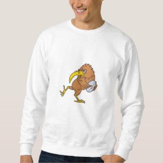 Kiwi Bird Running Rugby Ball Drawing Sweatshirt