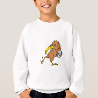 Kiwi Bird Running Rugby Ball Drawing Sweatshirt