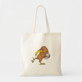 Kiwi Bird Running Rugby Ball Drawing Tote Bag