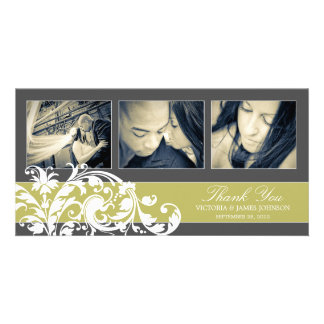 KIWI FLOURISH   WEDDING THANK YOU CARD PHOTO CARD TEMPLATE