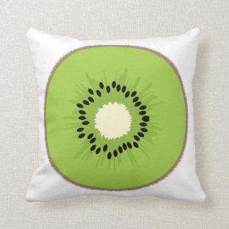Kiwi Fruit Green Brown Black Throw Pillow