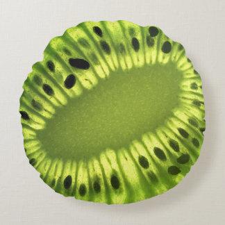 Kiwi fruit slice on round throw pillow
