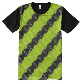 Kiwi Green And Black Pattern All-Over-Print T-Shirt