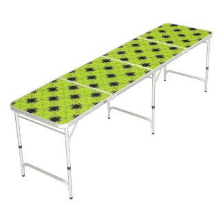 Kiwi Green And Black Vintage Pattern Beer Pong Table