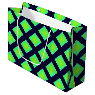 Kiwi Green And Navy Blue Geometric Pattern Large Gift Bag