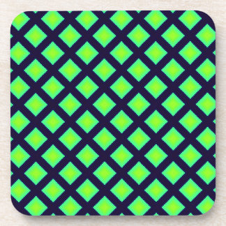 Kiwi Green And Navy Blue Geometrical Pattern Coaster