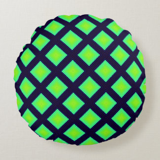 Kiwi Green And Navy Blue  Pattern Round Pillow