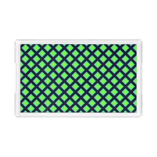 Kiwi Green And Navy Blue Plaid  Pattern Acrylic Tray