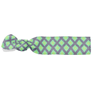 Kiwi Green And Navy Blue Plaid  Pattern Hair Tie