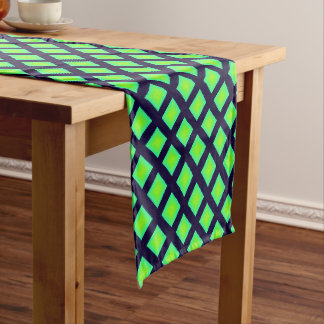 Kiwi Green And Navy Blue Plaid  Pattern Short Table Runner