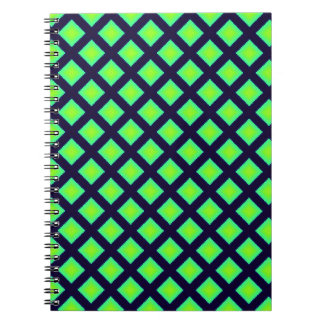 Kiwi Green And Navy Blue Plaid  Pattern Spiral Notebook