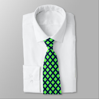 Kiwi Green And Navy Blue Plaid  Pattern Tie