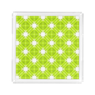 Kiwi Green And White Geometric Acrylic Tray