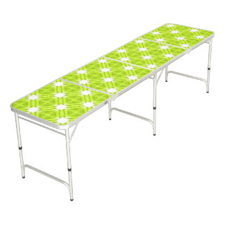 Kiwi Green And White Geometric Beer Pong Table