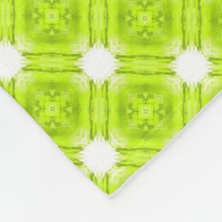 Kiwi Green And White Geometric Fleece Blanket