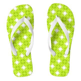 Kiwi Green And White Geometric Flip Flops