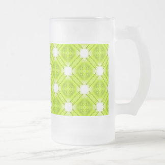 Kiwi Green And White Geometric Frosted Glass Beer Mug