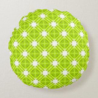 Kiwi Green And White Geometric Round Pillow