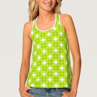 Kiwi Green And White Geometric Tank Top