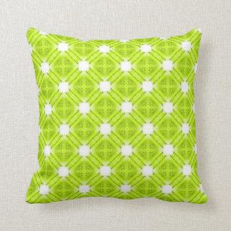 Kiwi Green And White Geometric Throw Pillow