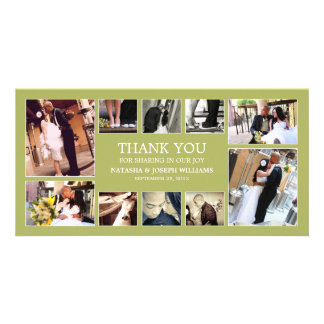KIWI GREEN COLLAGE   WEDDING THANK YOU CARD CUSTOM PHOTO CARD