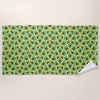 Kiwi Green Floral Pattern Beach Towel