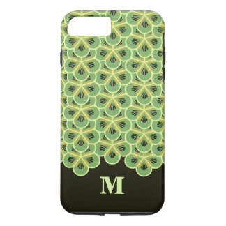 Kiwi Green Floral Pattern Monogram Phone Case