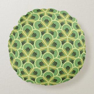 Kiwi Green Floral Pattern Round Pillow