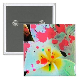 """Kiwi Lifestyle"" - Frangipani 2 Inch Square Button"