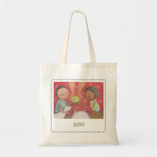 Kiwi natural canvas tote bag