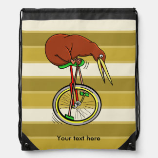 Kiwi Riding A Unicycle Funny  Illustration Drawstring Bag