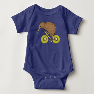 Kiwi Riding Bike With Kiwi Wheels Baby Bodysuit