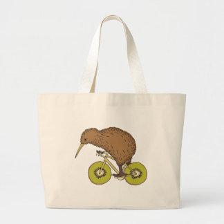 Kiwi Riding Bike With Kiwi Wheels Large Tote Bag