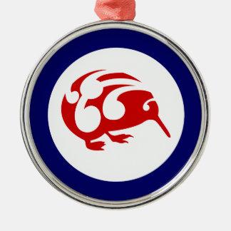 Kiwi Roundel Round Metal Christmas Ornament